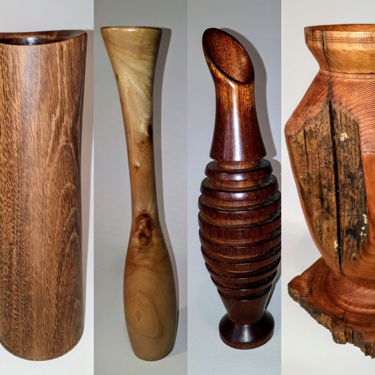 Woodturned flower vases