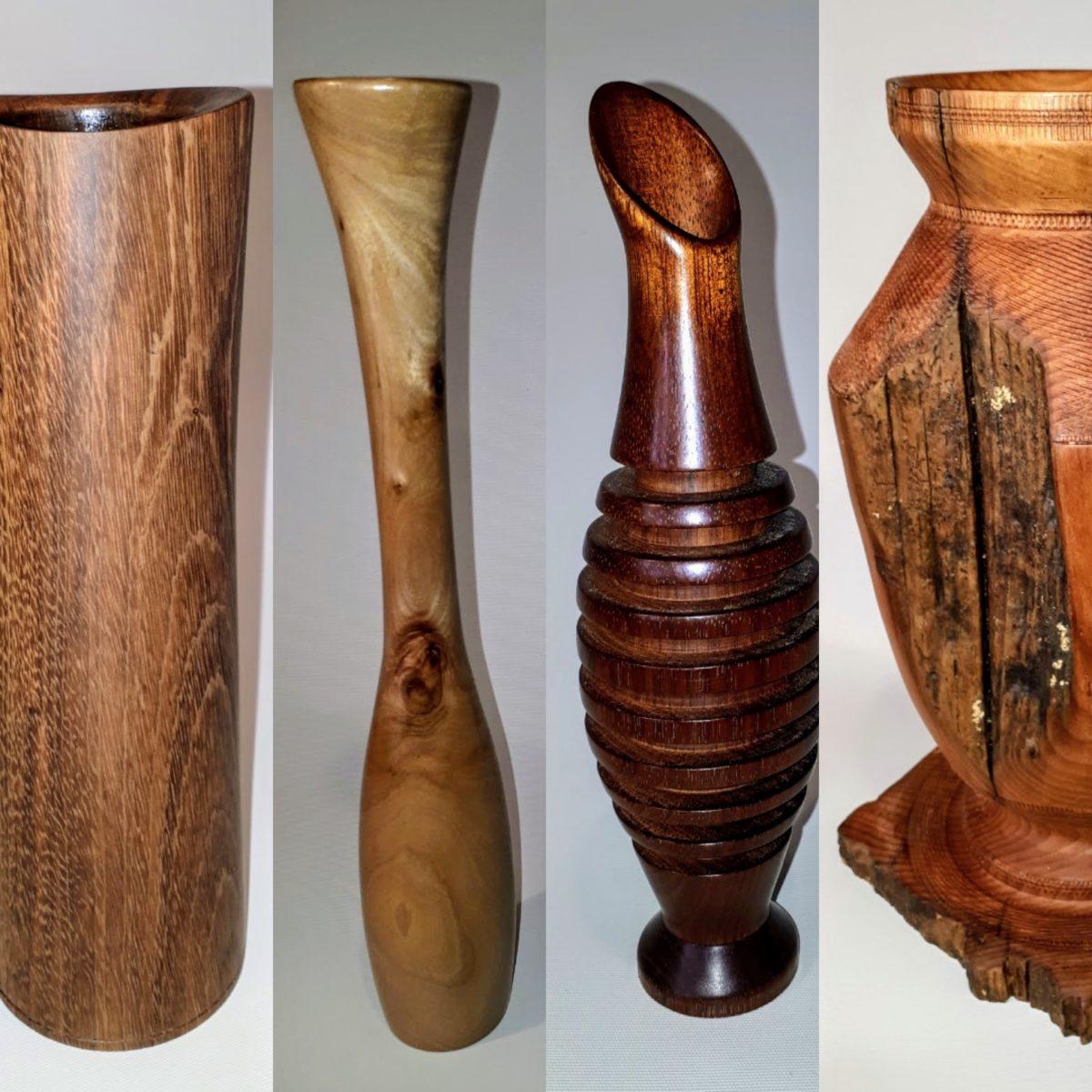 Woodturned flower vases