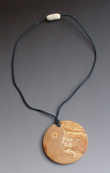 Yin Yang wooden necklace