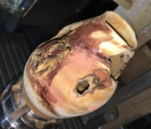 Woodturning metal inlay with copper