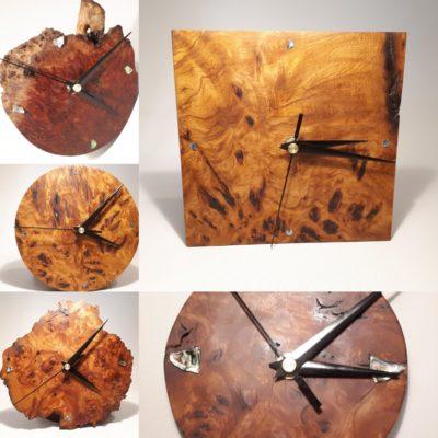 Malee and red beech burl wood clocks