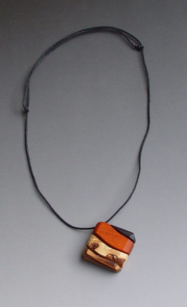 Square hand crafted rare timber pendant