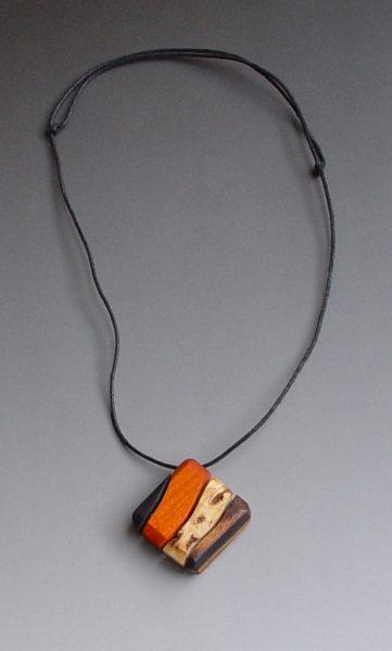 Orange, Burl and Blackwood pendant